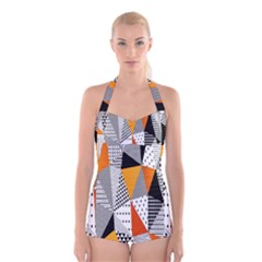 Contrast Hero Triangle Plaid Circle Wave Chevron Orange White Black Line Boyleg Halter Swimsuit