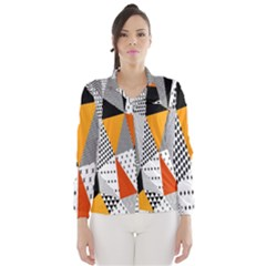 Contrast Hero Triangle Plaid Circle Wave Chevron Orange White Black Line Wind Breaker (Women)