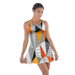 Contrast Hero Triangle Plaid Circle Wave Chevron Orange White Black Line Cotton Racerback Dress
