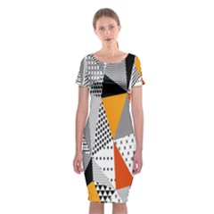 Contrast Hero Triangle Plaid Circle Wave Chevron Orange White Black Line Classic Short Sleeve Midi Dress