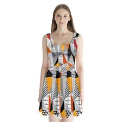 Contrast Hero Triangle Plaid Circle Wave Chevron Orange White Black Line Split Back Mini Dress