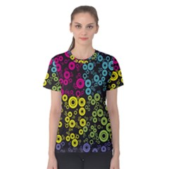 Circle Ring Color Purple Pink Yellow Blue Women s Cotton Tee