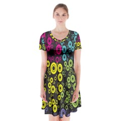 Circle Ring Color Purple Pink Yellow Blue Short Sleeve V Neck Flare Dress