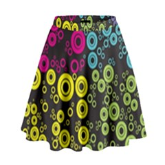 Circle Ring Color Purple Pink Yellow Blue High Waist Skirt