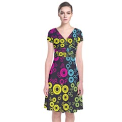 Circle Ring Color Purple Pink Yellow Blue Short Sleeve Front Wrap Dress