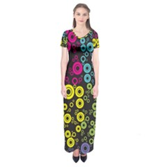 Circle Ring Color Purple Pink Yellow Blue Short Sleeve Maxi Dress