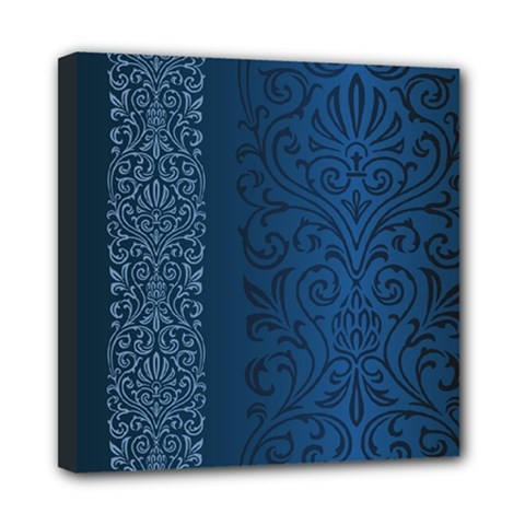 Fabric Blue Batik Mini Canvas 8  x 8