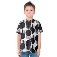 Floral Geometric Circle Black White Hole Kids  Cotton Tee