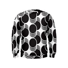 Floral Geometric Circle Black White Hole Kids  Sweatshirt