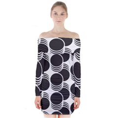 Floral Geometric Circle Black White Hole Long Sleeve Off Shoulder Dress