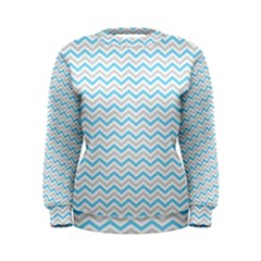 Free Plushie Wave Chevron Blue Grey Gray Women s Sweatshirt
