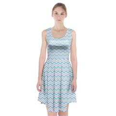 Free Plushie Wave Chevron Blue Grey Gray Racerback Midi Dress