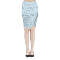 Free Plushie Wave Chevron Blue Grey Gray Midi Wrap Pencil Skirt