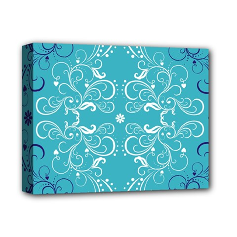 Flower Leaf Floral Love Heart Sunflower Rose Blue White Deluxe Canvas 14  x 11