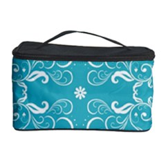 Flower Leaf Floral Love Heart Sunflower Rose Blue White Cosmetic Storage Case