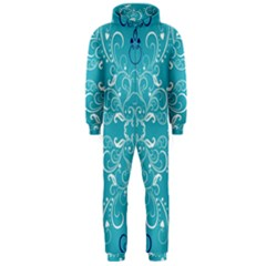 Flower Leaf Floral Love Heart Sunflower Rose Blue White Hooded Jumpsuit (Men)