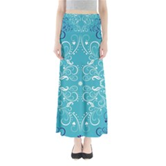 Flower Leaf Floral Love Heart Sunflower Rose Blue White Maxi Skirts