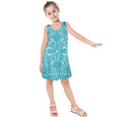 Flower Leaf Floral Love Heart Sunflower Rose Blue White Kids  Sleeveless Dress