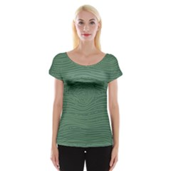 Illustration Green Grains Line Women s Cap Sleeve Top