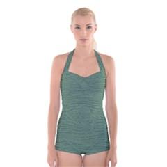 Illustration Green Grains Line Boyleg Halter Swimsuit