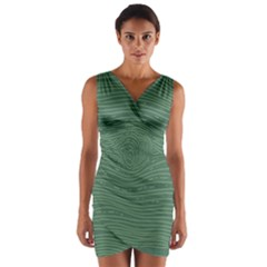 Illustration Green Grains Line Wrap Front Bodycon Dress