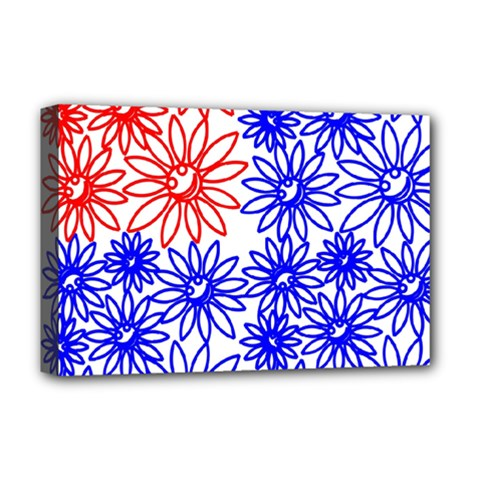 Flower Floral Smile Face Red Blue Sunflower Deluxe Canvas 18  X 12