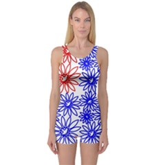 Flower Floral Smile Face Red Blue Sunflower One Piece Boyleg Swimsuit