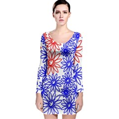 Flower Floral Smile Face Red Blue Sunflower Long Sleeve Bodycon Dress