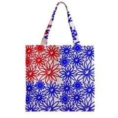 Flower Floral Smile Face Red Blue Sunflower Zipper Grocery Tote Bag
