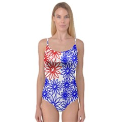 Flower Floral Smile Face Red Blue Sunflower Camisole Leotard
