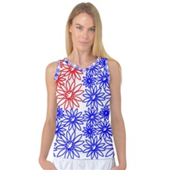 Flower Floral Smile Face Red Blue Sunflower Women s Basketball Tank Top