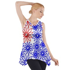 Flower Floral Smile Face Red Blue Sunflower Side Drop Tank Tunic