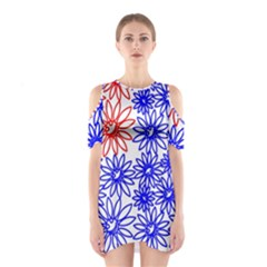 Flower Floral Smile Face Red Blue Sunflower Shoulder Cutout One Piece