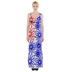 Flower Floral Smile Face Red Blue Sunflower Maxi Thigh Split Dress