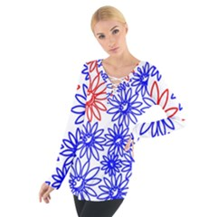 Flower Floral Smile Face Red Blue Sunflower Women s Tie Up Tee