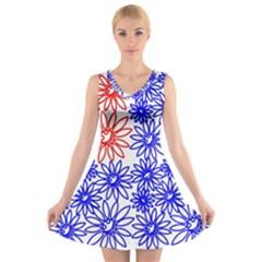 Flower Floral Smile Face Red Blue Sunflower V-Neck Sleeveless Skater Dress