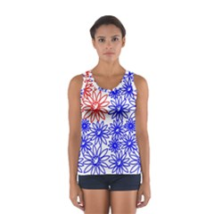 Flower Floral Smile Face Red Blue Sunflower Women s Sport Tank Top