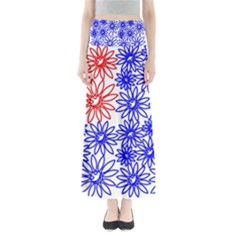 Flower Floral Smile Face Red Blue Sunflower Maxi Skirts
