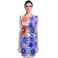 Flower Floral Smile Face Red Blue Sunflower Classic Sleeveless Midi Dress