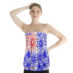 Flower Floral Smile Face Red Blue Sunflower Strapless Top