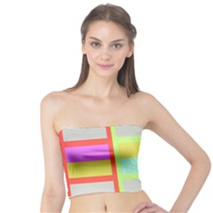 Maximum Color Rainbow Red Blue Yellow Grey Pink Plaid Flag Tube Top