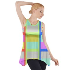 Maximum Color Rainbow Red Blue Yellow Grey Pink Plaid Flag Side Drop Tank Tunic