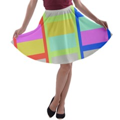Maximum Color Rainbow Red Blue Yellow Grey Pink Plaid Flag A-line Skater Skirt