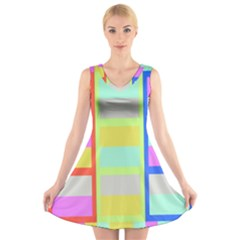 Maximum Color Rainbow Red Blue Yellow Grey Pink Plaid Flag V-Neck Sleeveless Skater Dress