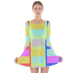 Maximum Color Rainbow Red Blue Yellow Grey Pink Plaid Flag Long Sleeve Velvet Skater Dress