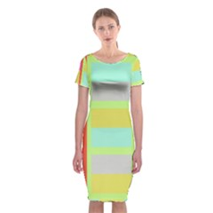 Maximum Color Rainbow Red Blue Yellow Grey Pink Plaid Flag Classic Short Sleeve Midi Dress