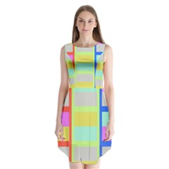 Maximum Color Rainbow Red Blue Yellow Grey Pink Plaid Flag Sleeveless Chiffon Dress