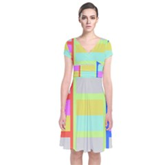 Maximum Color Rainbow Red Blue Yellow Grey Pink Plaid Flag Short Sleeve Front Wrap Dress