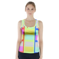 Maximum Color Rainbow Red Blue Yellow Grey Pink Plaid Flag Racer Back Sports Top