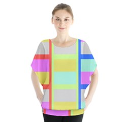 Maximum Color Rainbow Red Blue Yellow Grey Pink Plaid Flag Blouse